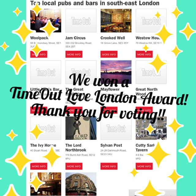 We won a @timeout love london award!! Thank you kind friends for voting!